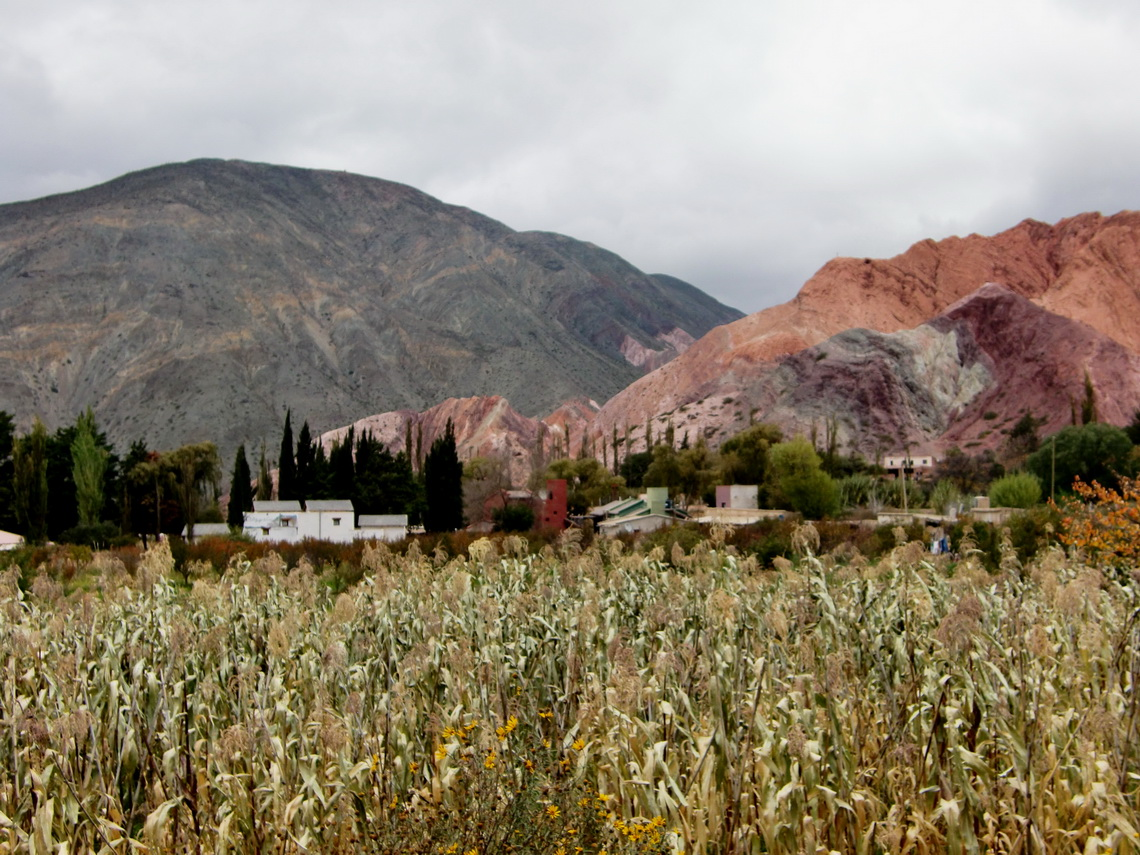 Village of Purmamarca with fruitful vegetaion and red rocks