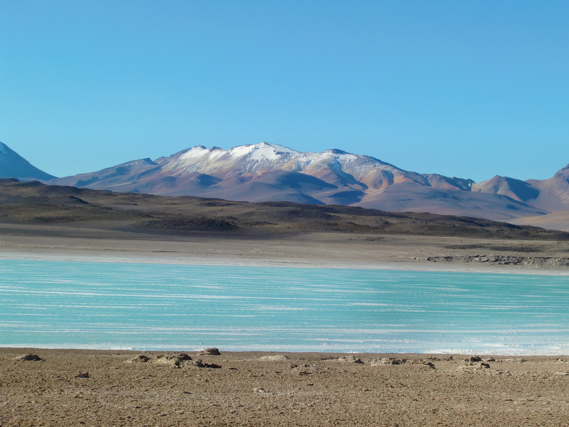 Colorful Laguna Verde with snowy mountains