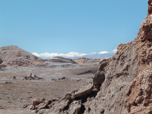 In the Valle de la Luna with the snowy Andes in the background