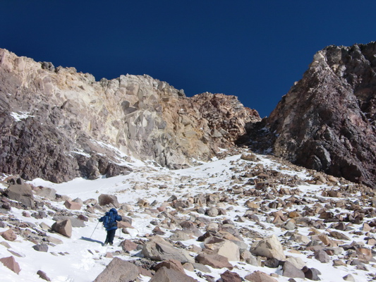 The crater at 6700 meters, but we still had to climb up the gully and ridge right on it
